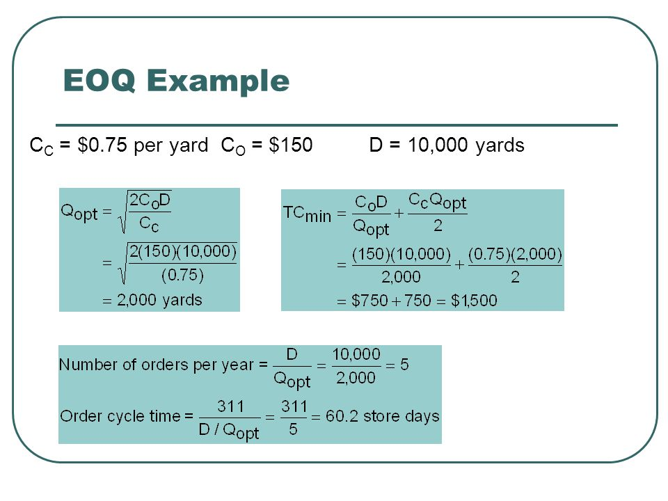 EOQ Example CC = $0.75 per yard CO = $150 D = 10,000 yards