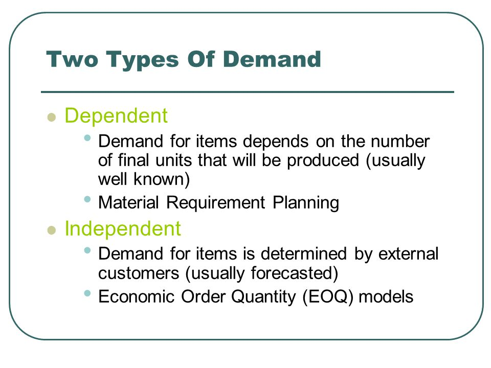 Two Types Of Demand Dependent Independent