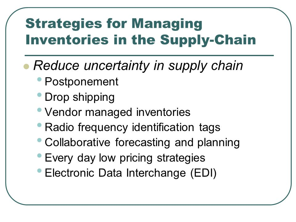 Strategies for Managing Inventories in the Supply-Chain