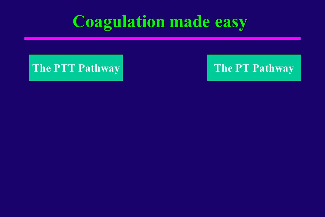 Coagulation made easy The PTT Pathway The PT Pathway