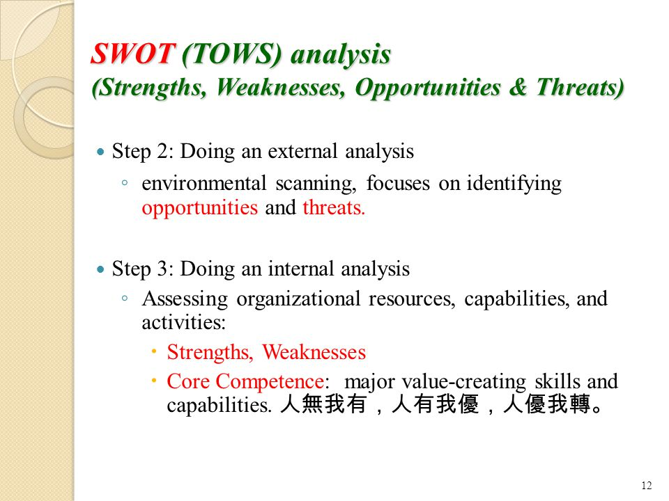 SWOT (TOWS) analysis (Strengths, Weaknesses, Opportunities & Threats)