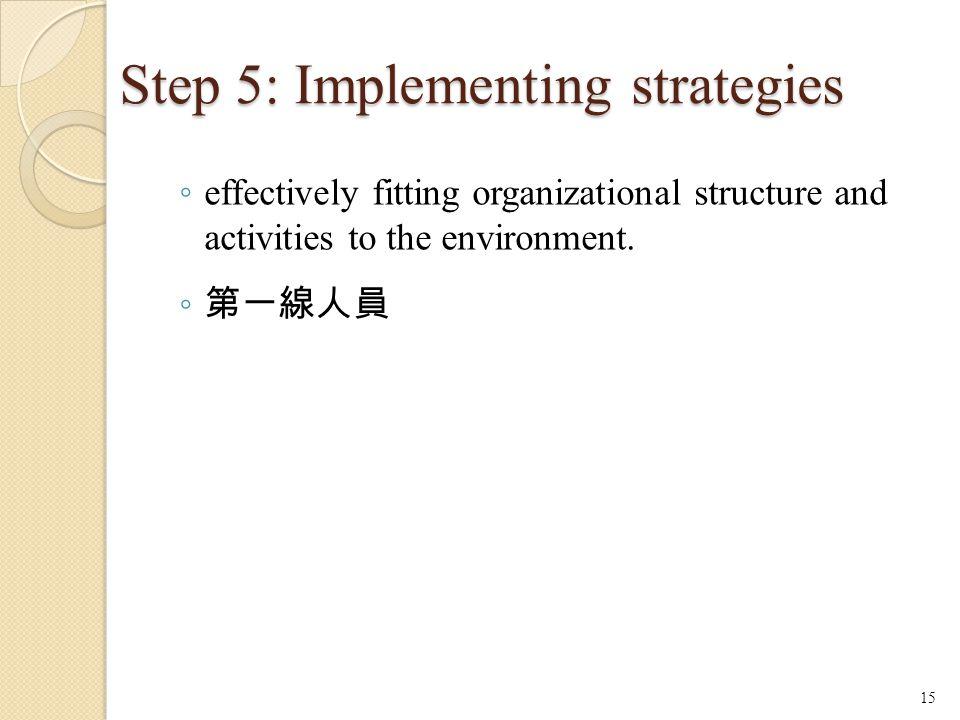 Step 5: Implementing strategies