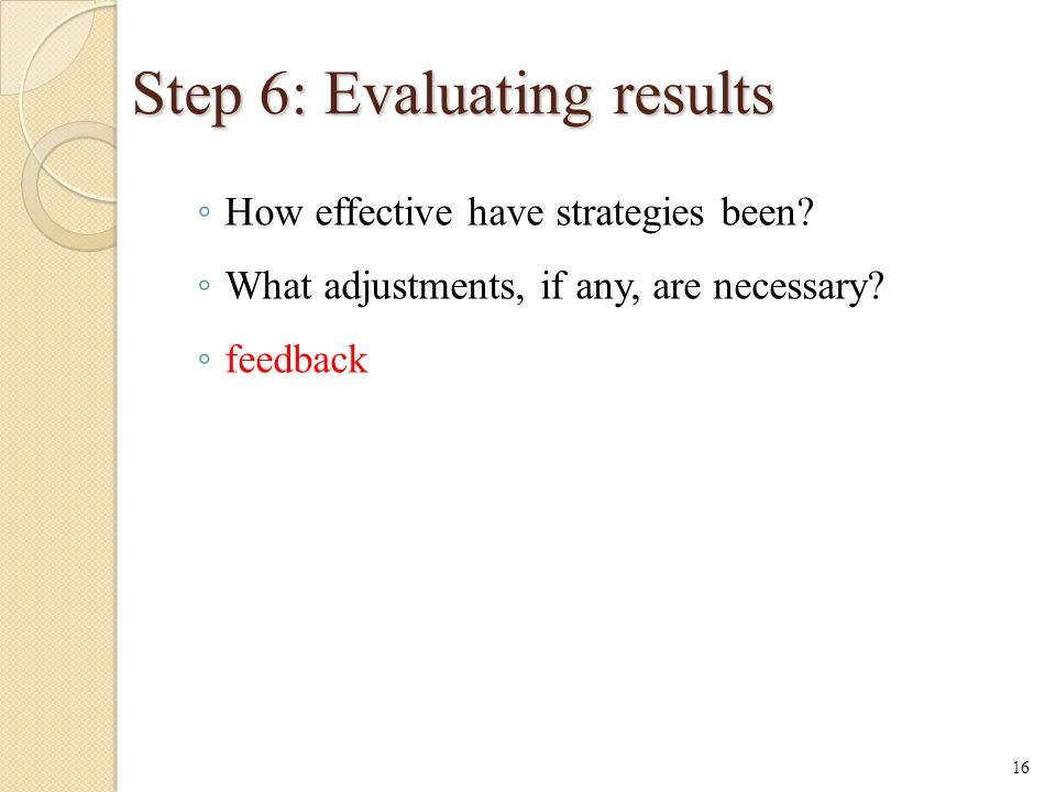 Step 6: Evaluating results