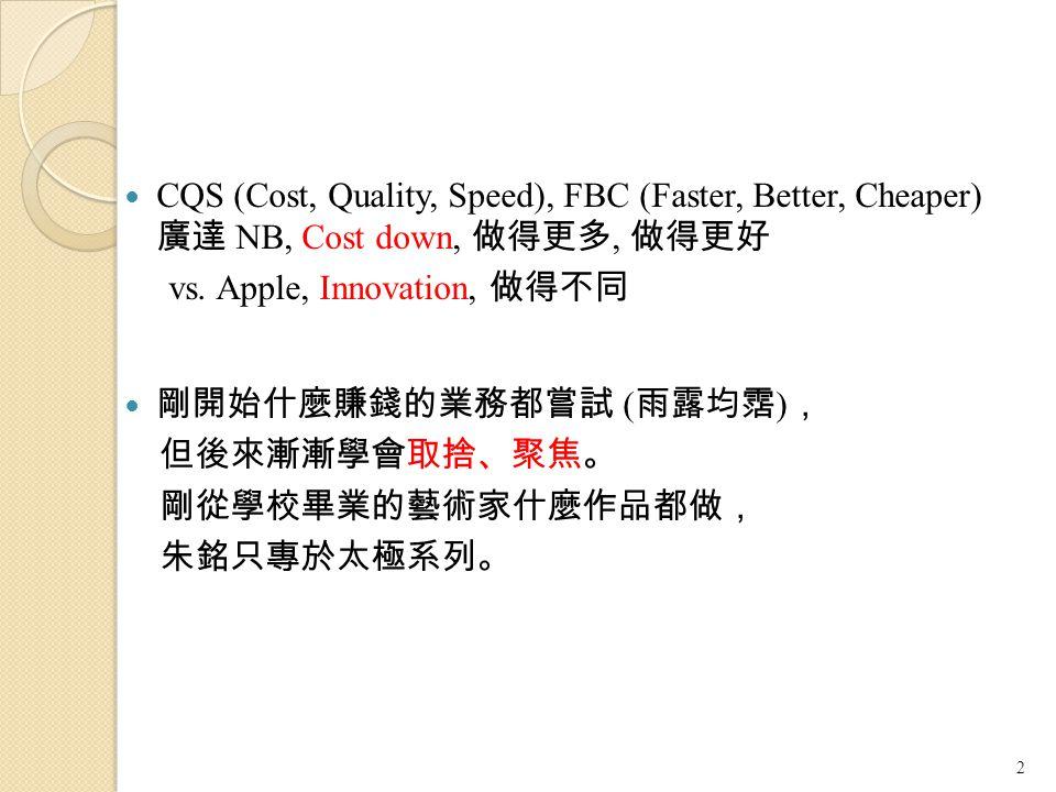 CQS (Cost, Quality, Speed), FBC (Faster, Better, Cheaper) 廣達 NB, Cost down, 做得更多, 做得更好