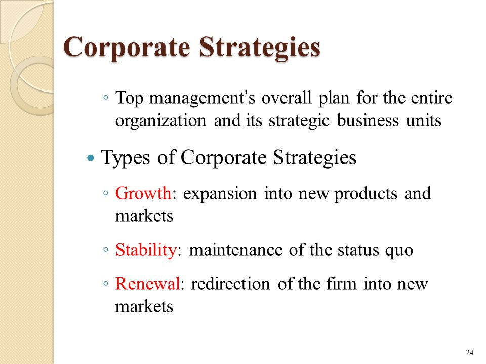 Corporate Strategies Types of Corporate Strategies