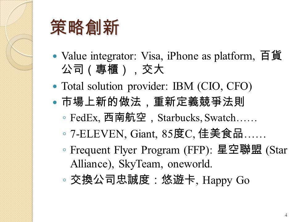 策略創新 Value integrator: Visa, iPhone as platform, 百貨 公司(專櫃),交大