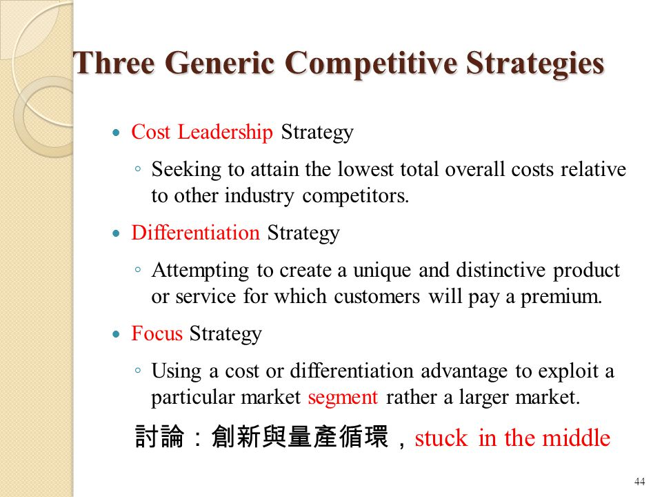 Three Generic Competitive Strategies