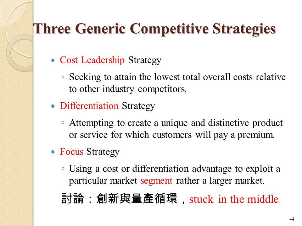 Three Generic Competitive Strategies