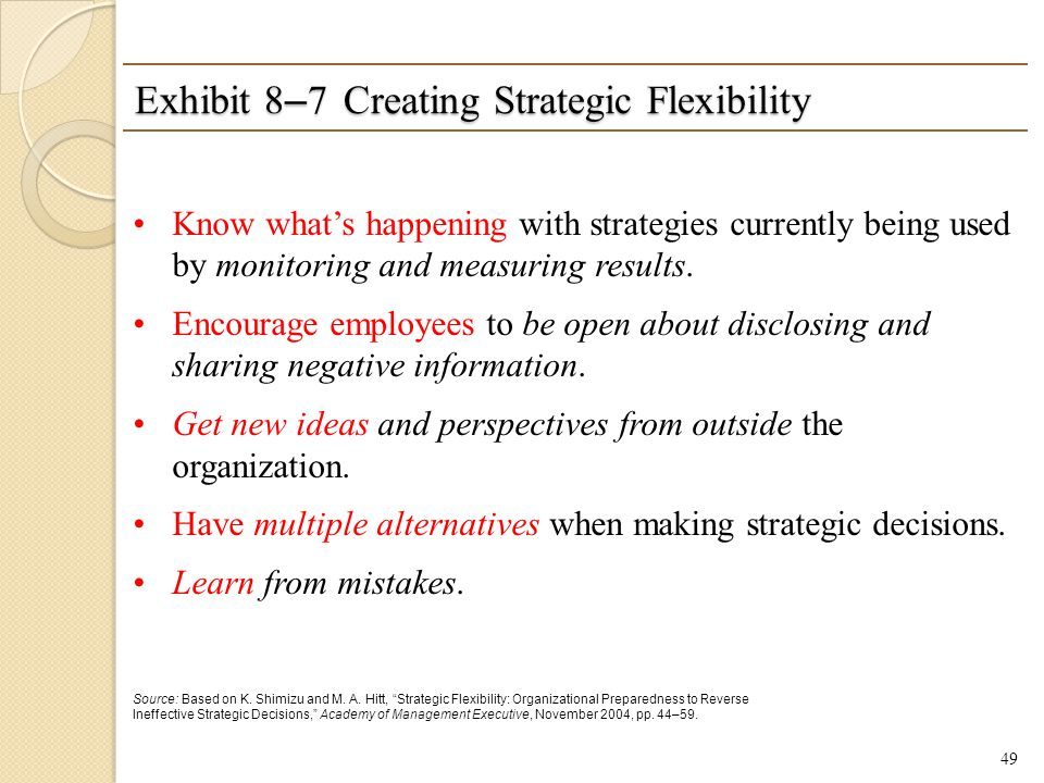 Exhibit 8–7 Creating Strategic Flexibility