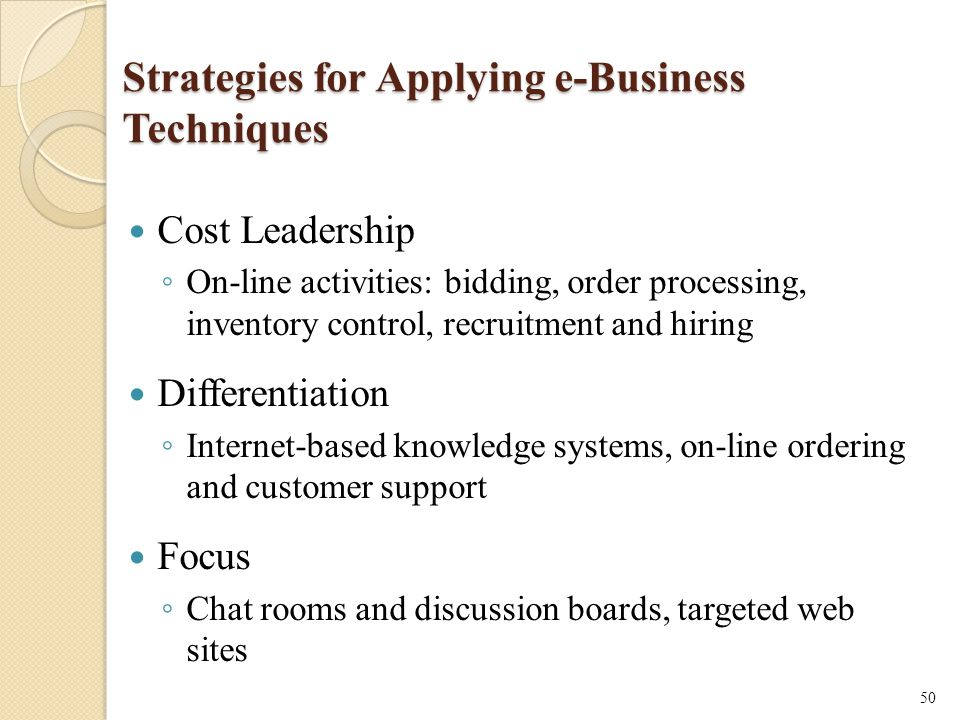 Strategies for Applying e-Business Techniques