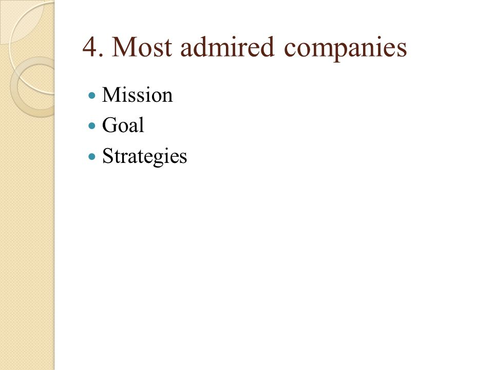 4. Most admired companies