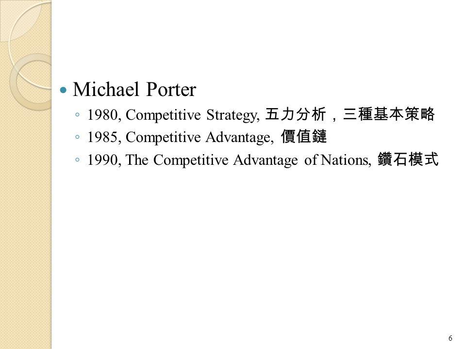 Michael Porter 1980, Competitive Strategy, 五力分析,三種基本策略