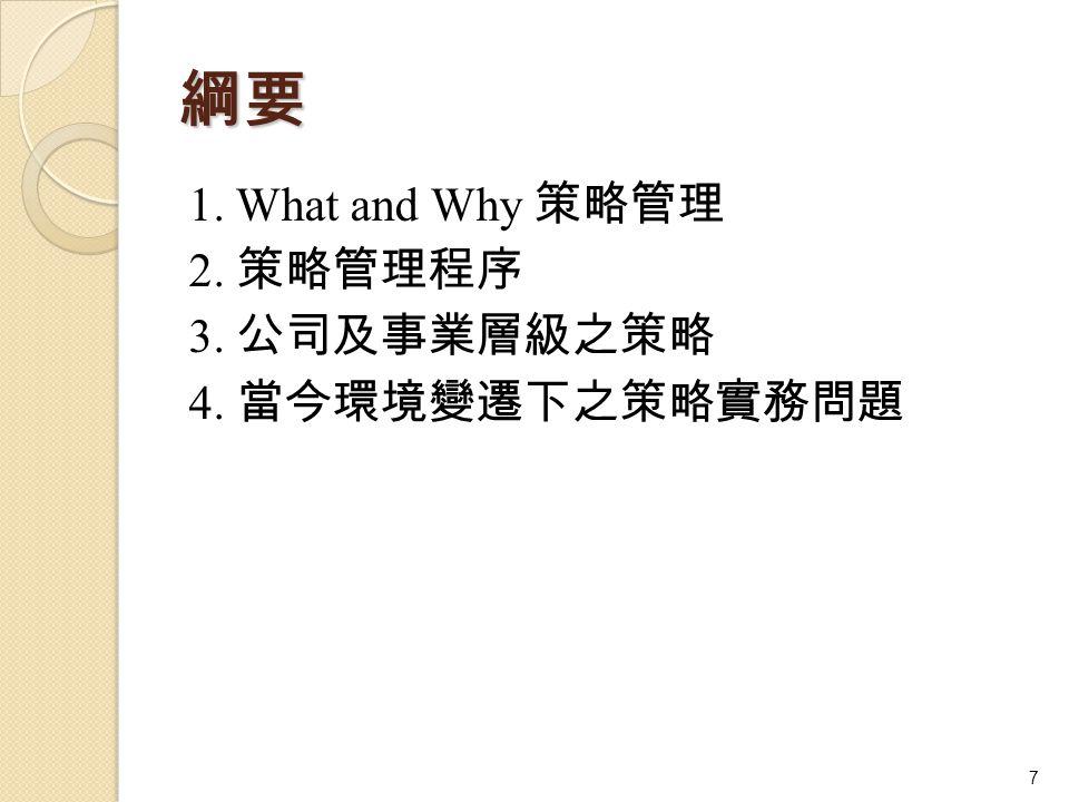 綱要 1. What and Why 策略管理 2. 策略管理程序 3. 公司及事業層級之策略 4. 當今環境變遷下之策略實務問題