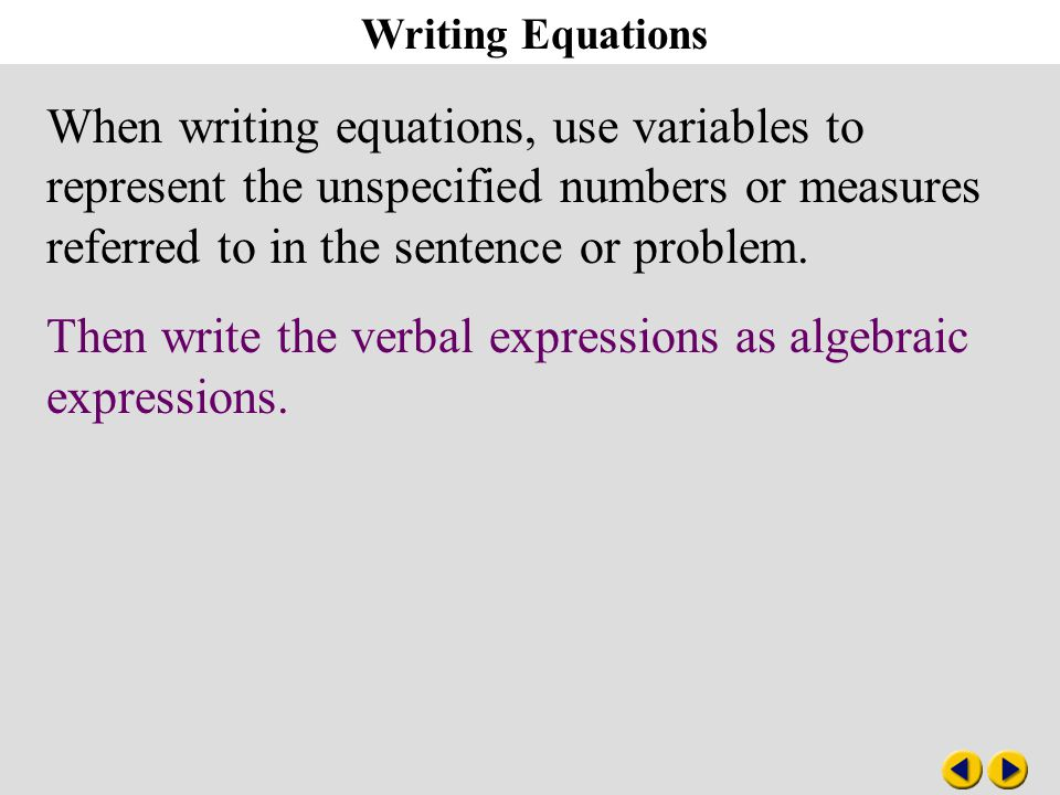 Algebra 3-1 Writing Equations