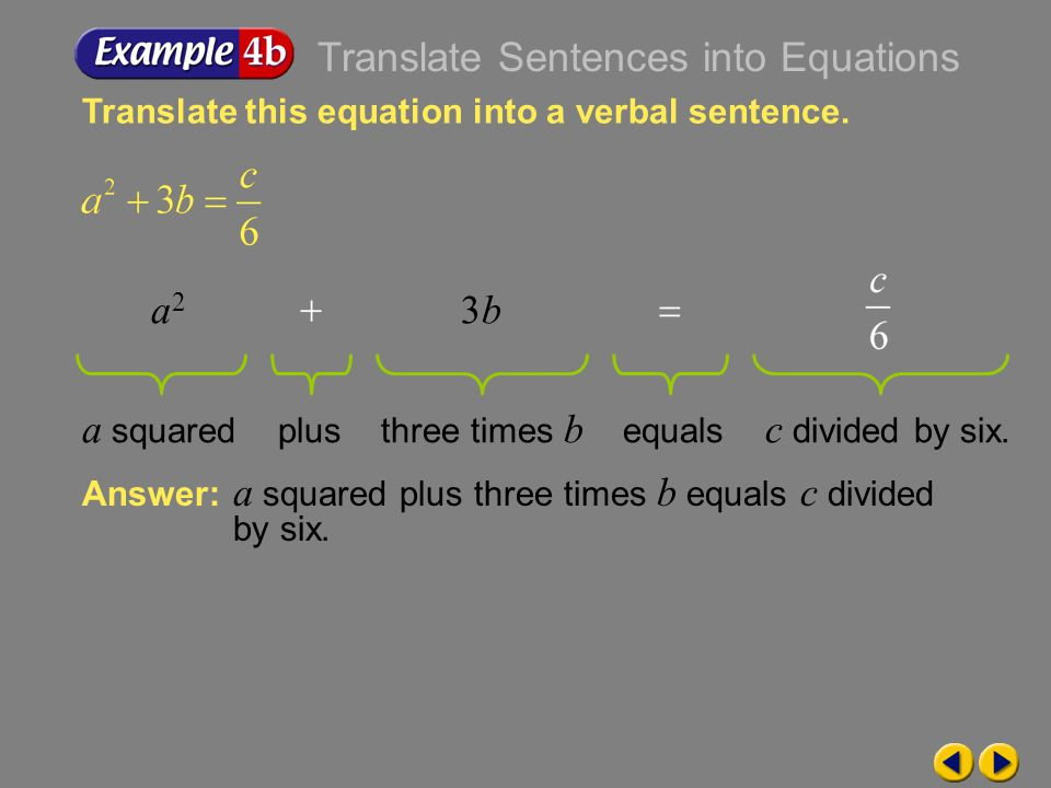 Translate Sentences into Equations