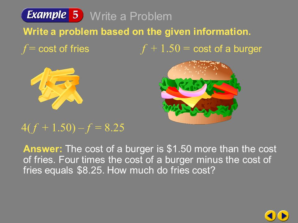 Write a Problem f = cost of fries f + 1.50 = cost of a burger