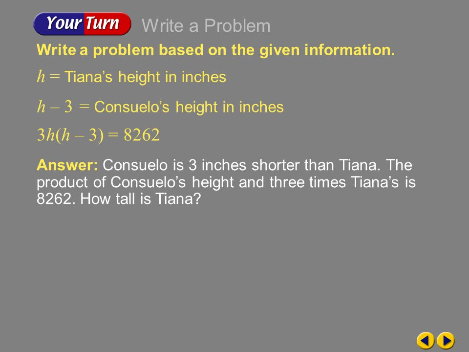 h = Tiana's height in inches