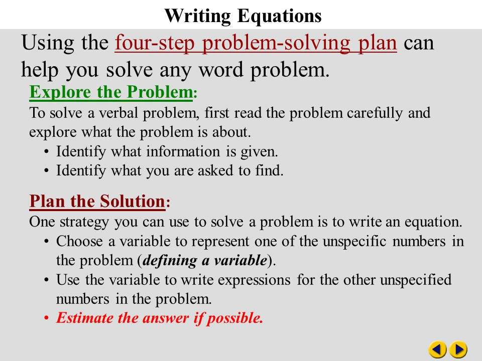 solving linear equations essay Chapter 2: linear equations and inequalities   chapter 4: systems of linear  equations   chapter 7: solving quadratic equations.