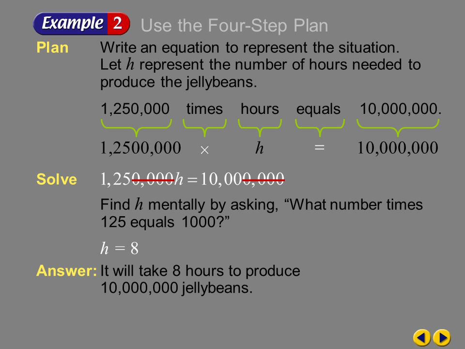Use the Four-Step Plan 1,2500,000 h 10,000,000 h = 8