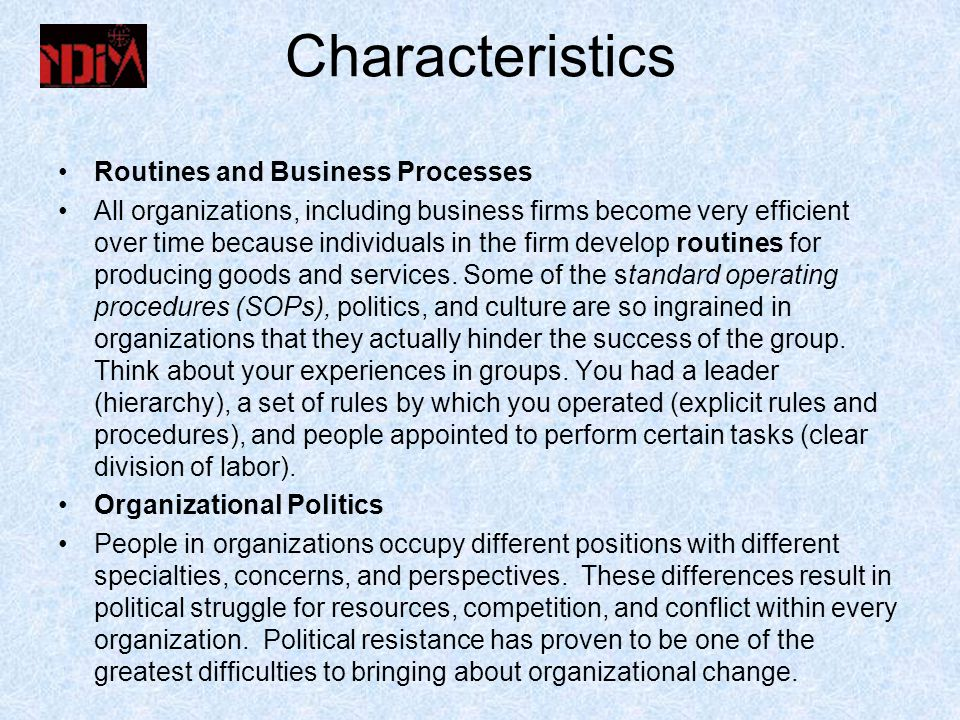 Characteristics Routines and Business Processes