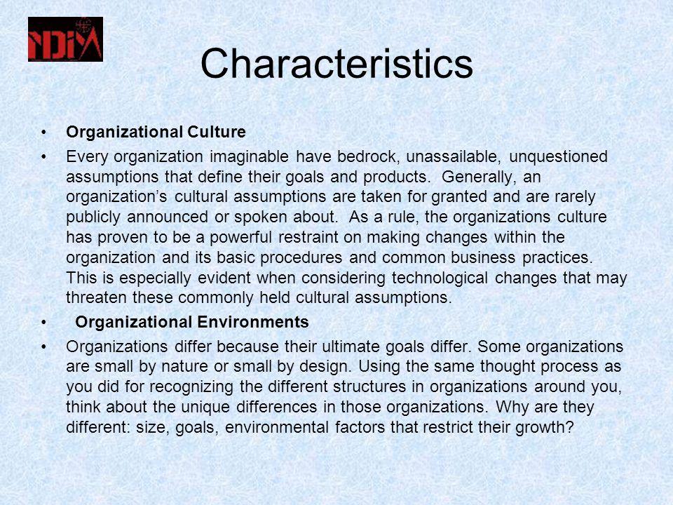 Characteristics Organizational Culture