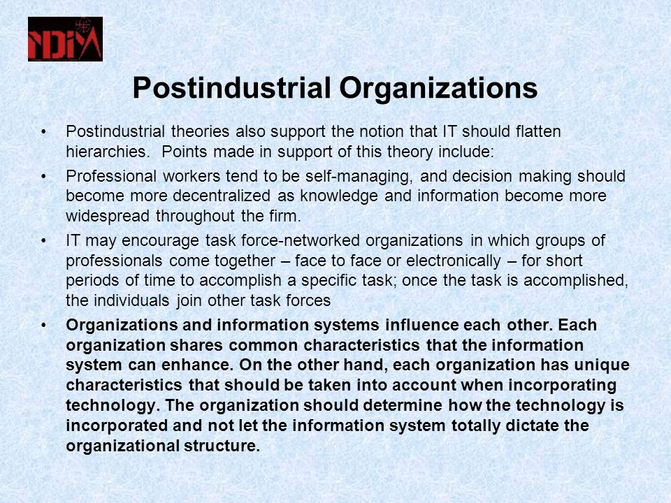 Postindustrial Organizations