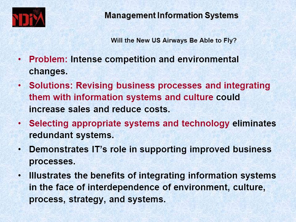 Management Information Systems Will the New US Airways Be Able to Fly