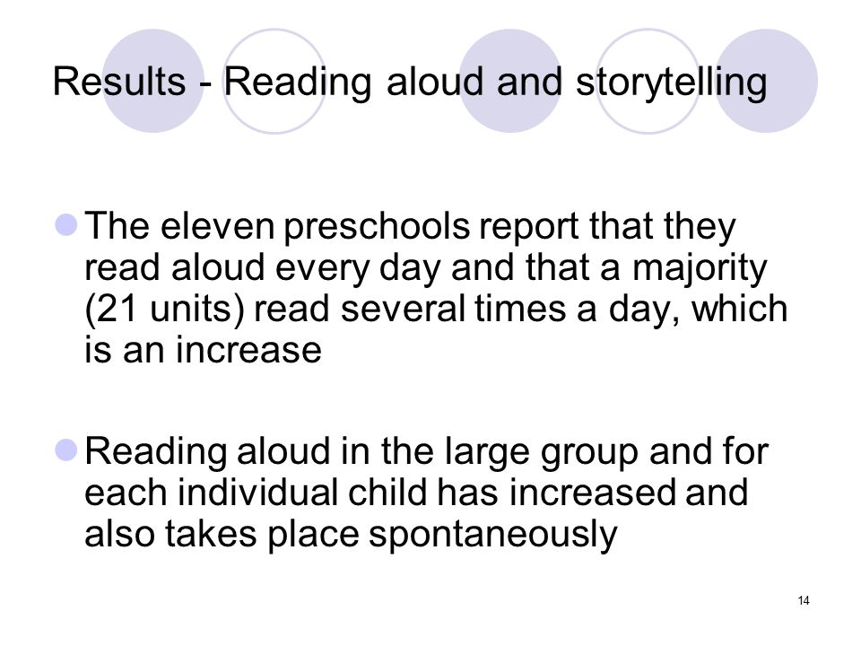 Results - Reading aloud and storytelling