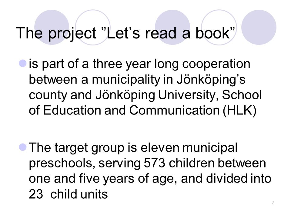 The project Let's read a book