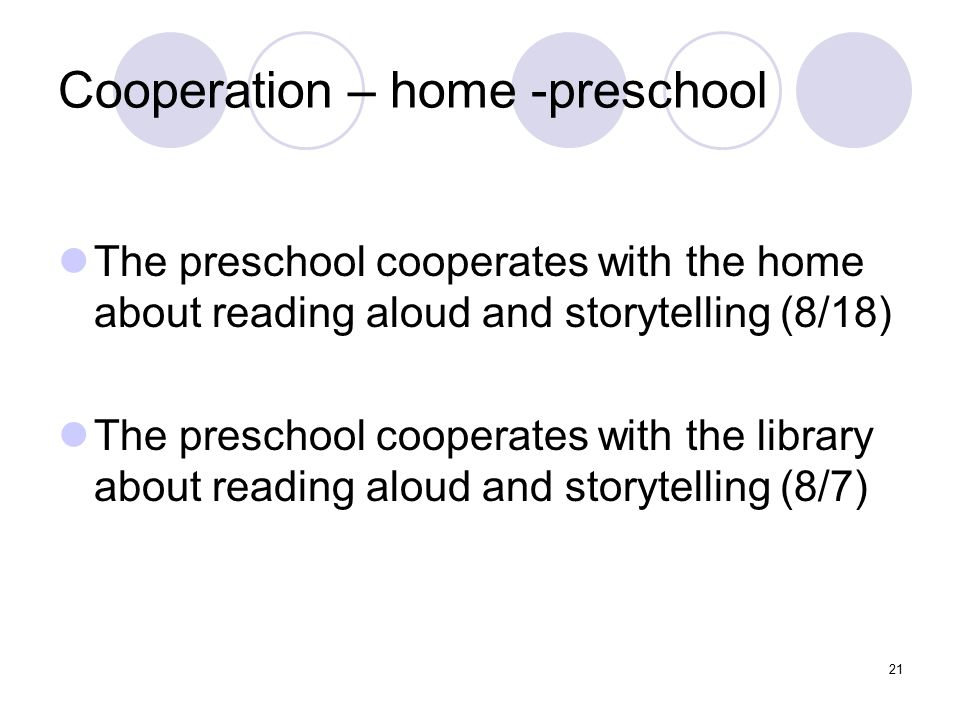 Cooperation – home -preschool