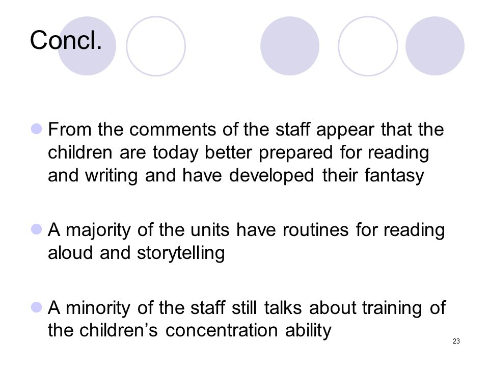 Concl. From the comments of the staff appear that the children are today better prepared for reading and writing and have developed their fantasy.