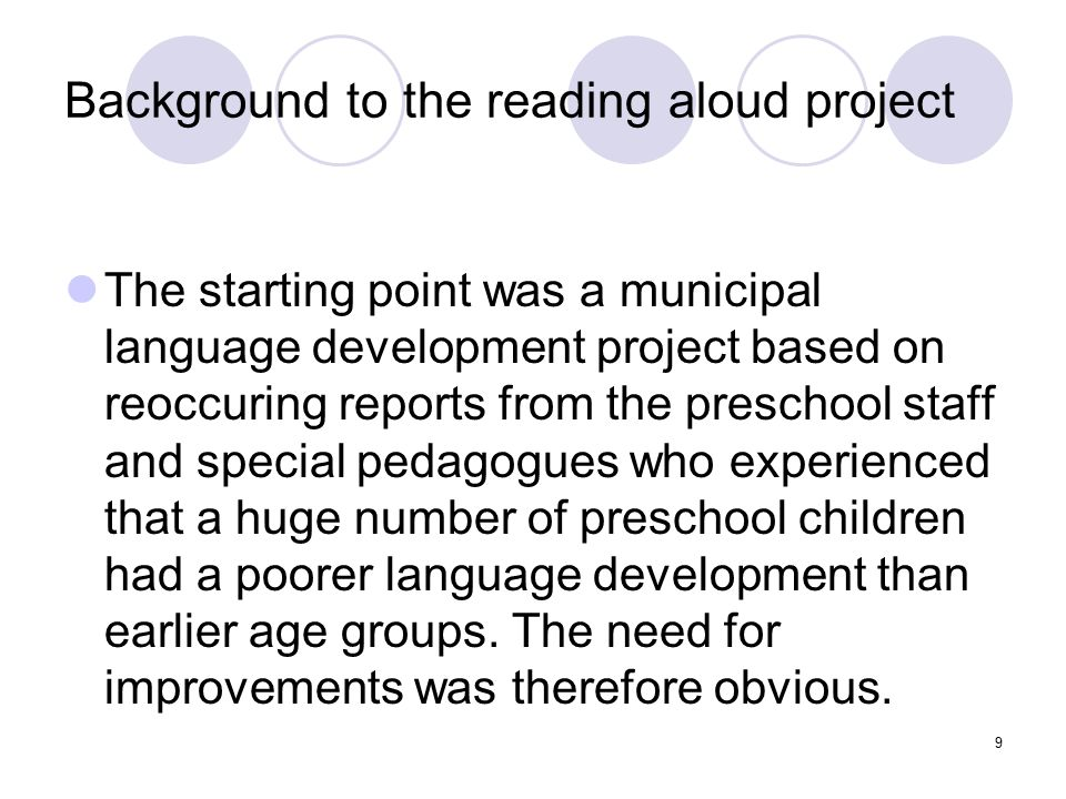 Background to the reading aloud project