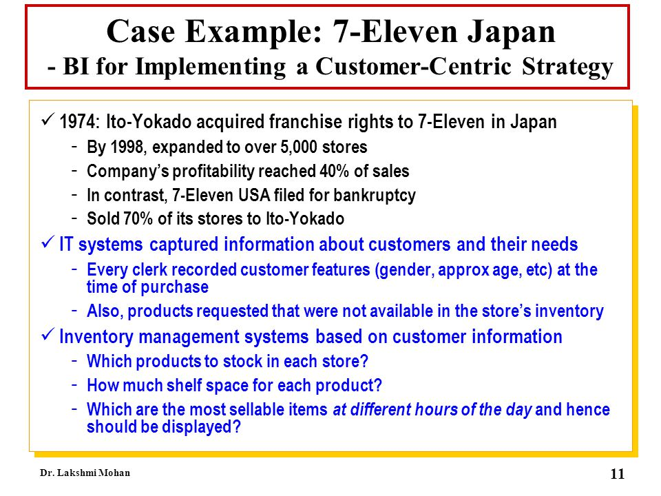 Case Example: 7-Eleven Japan - BI for Implementing a Customer-Centric Strategy