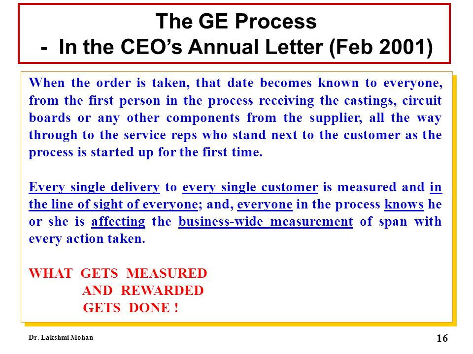- In the CEO's Annual Letter (Feb 2001)