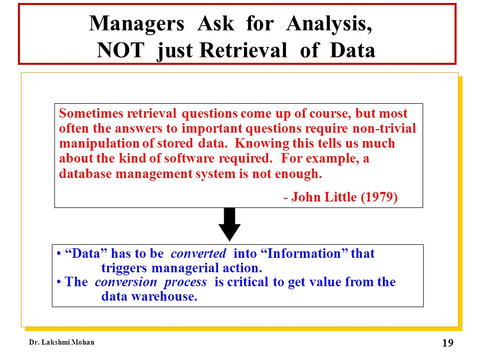 Managers Ask for Analysis, NOT just Retrieval of Data
