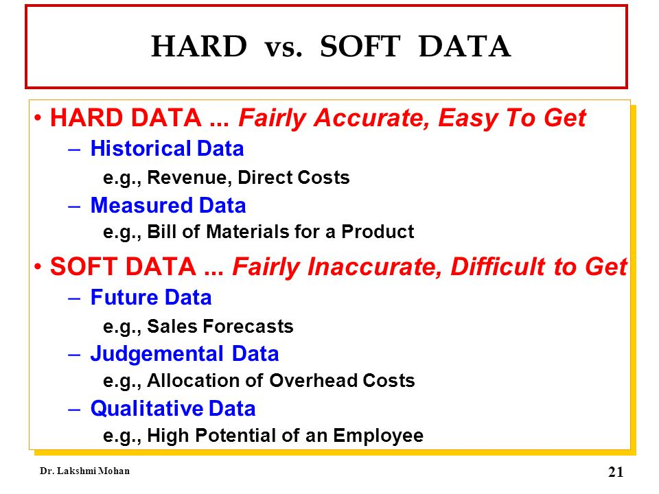 HARD vs. SOFT DATA HARD DATA ... Fairly Accurate, Easy To Get