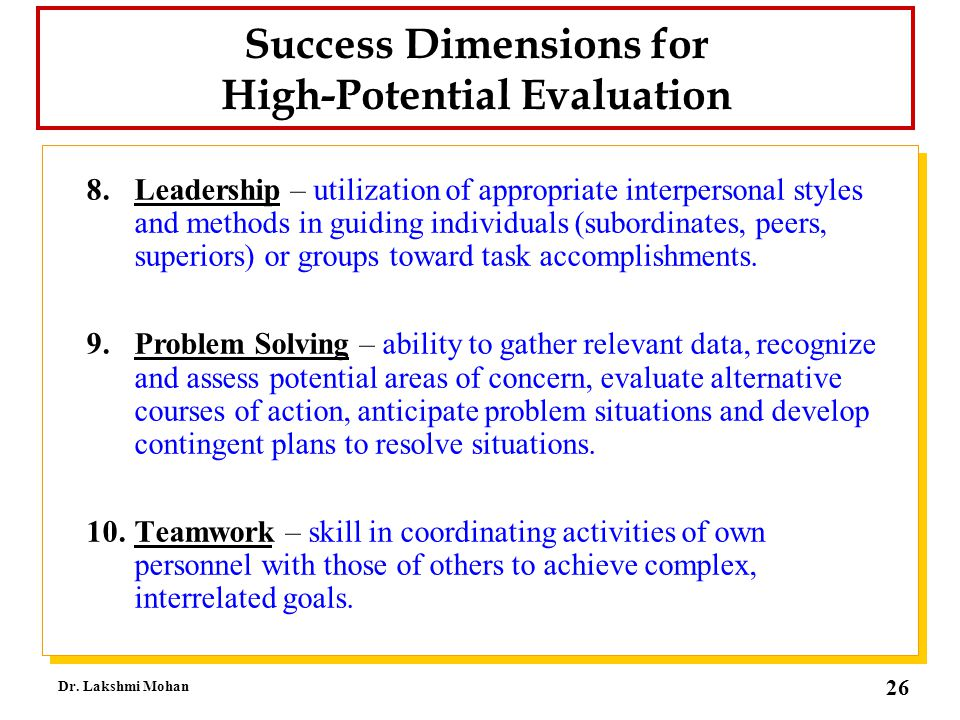 Success Dimensions for High-Potential Evaluation