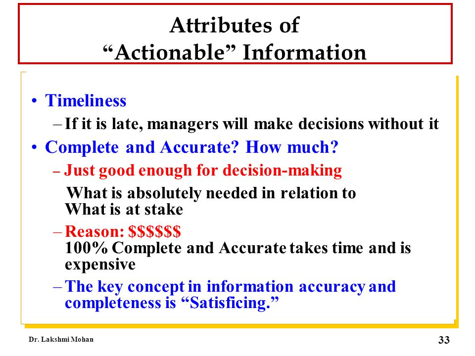 Attributes of Actionable Information