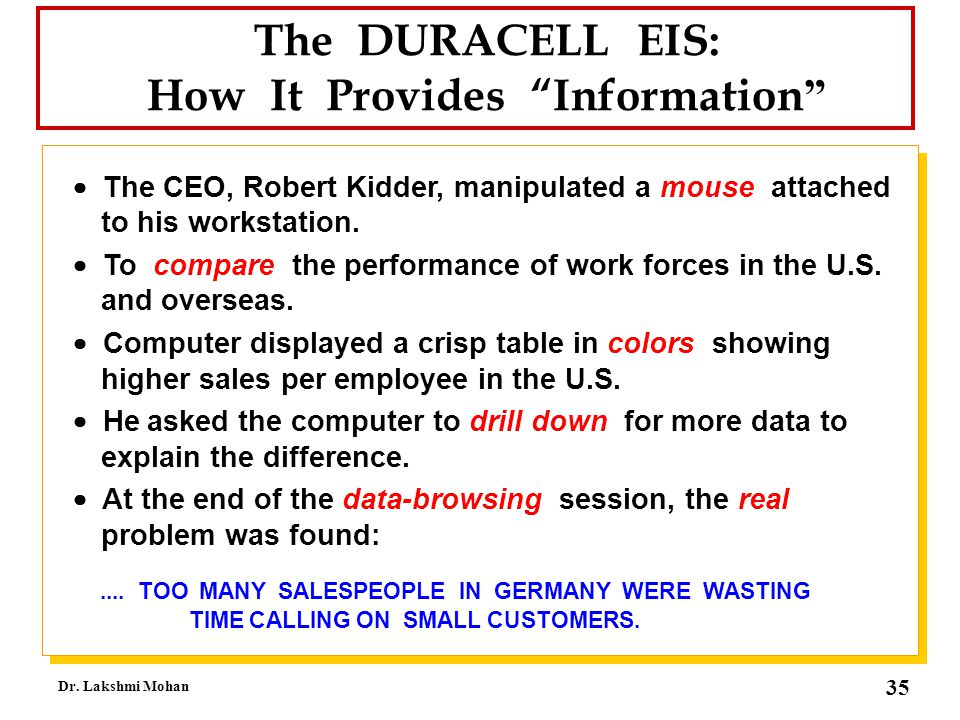 The DURACELL EIS: How It Provides Information