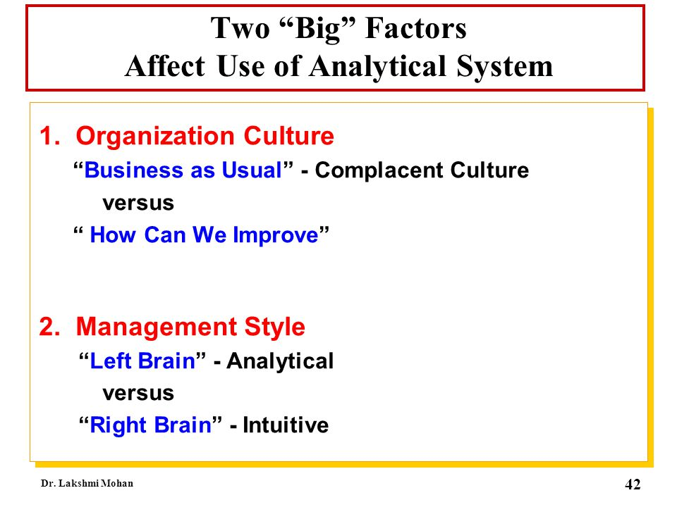 Two Big Factors Affect Use of Analytical System