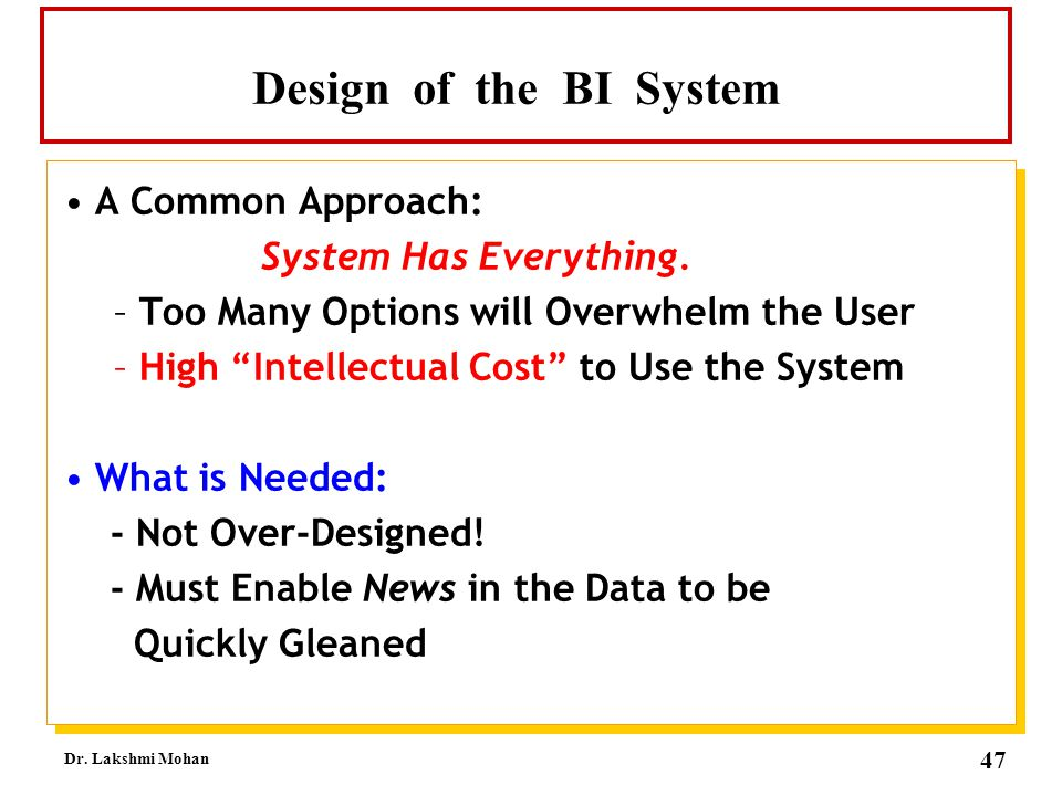 Design of the BI System A Common Approach: System Has Everything.