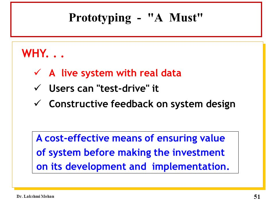 Prototyping - A Must WHY. . . A live system with real data