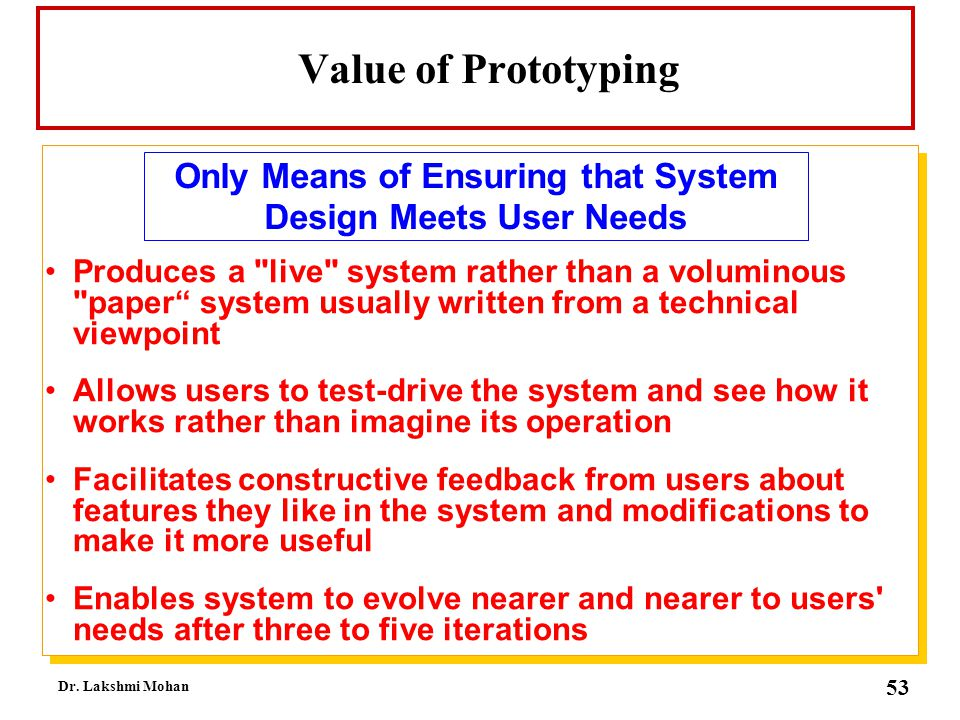 Only Means of Ensuring that System Design Meets User Needs