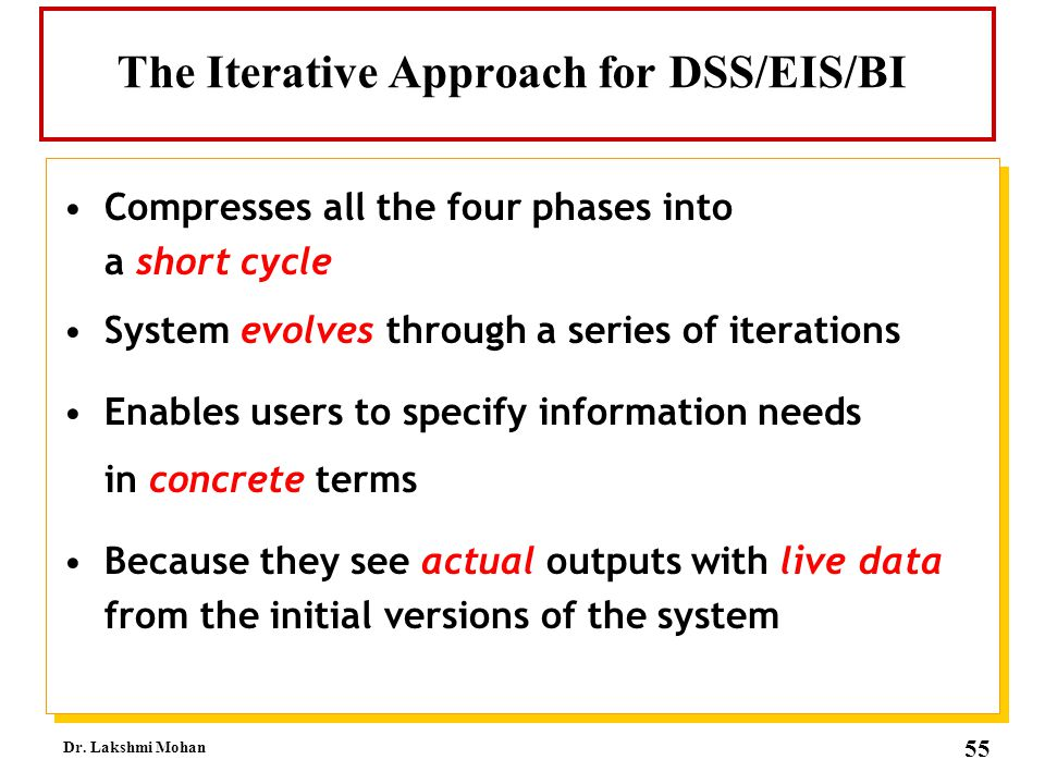 The Iterative Approach for DSS/EIS/BI