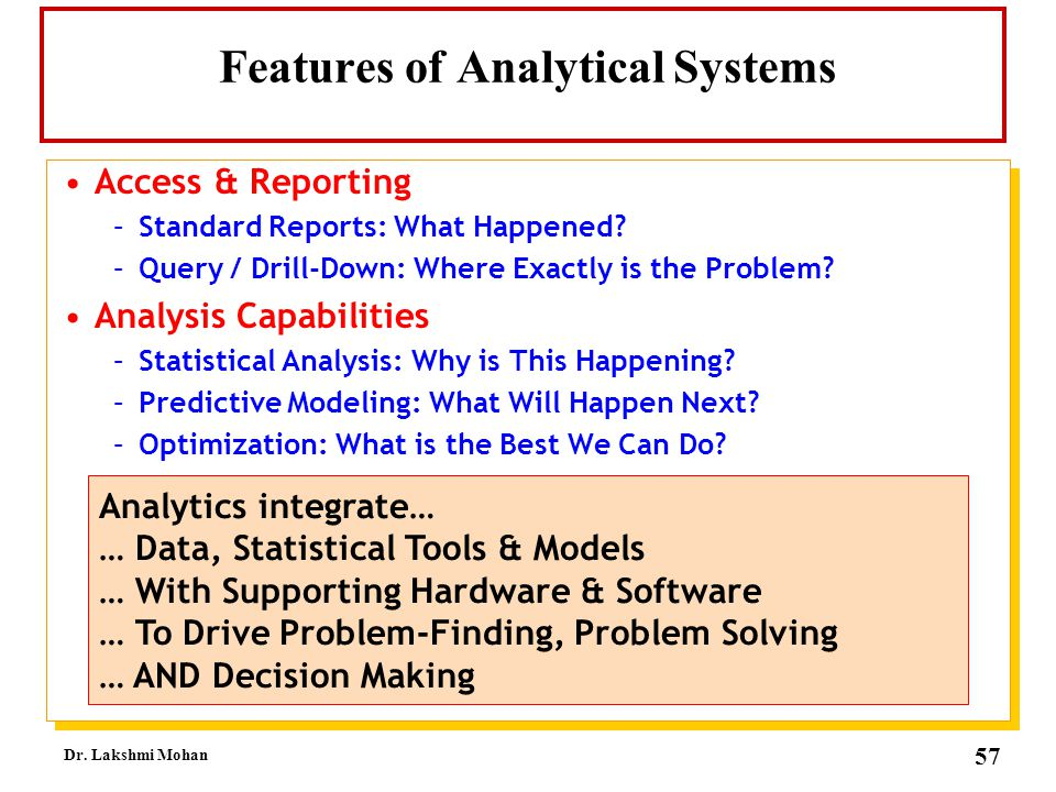 Features of Analytical Systems