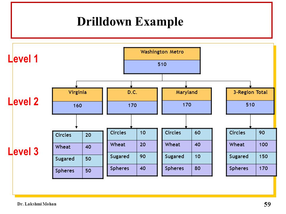 Drilldown Example Level 1 Level 2 Level 3 Washington Metro 510