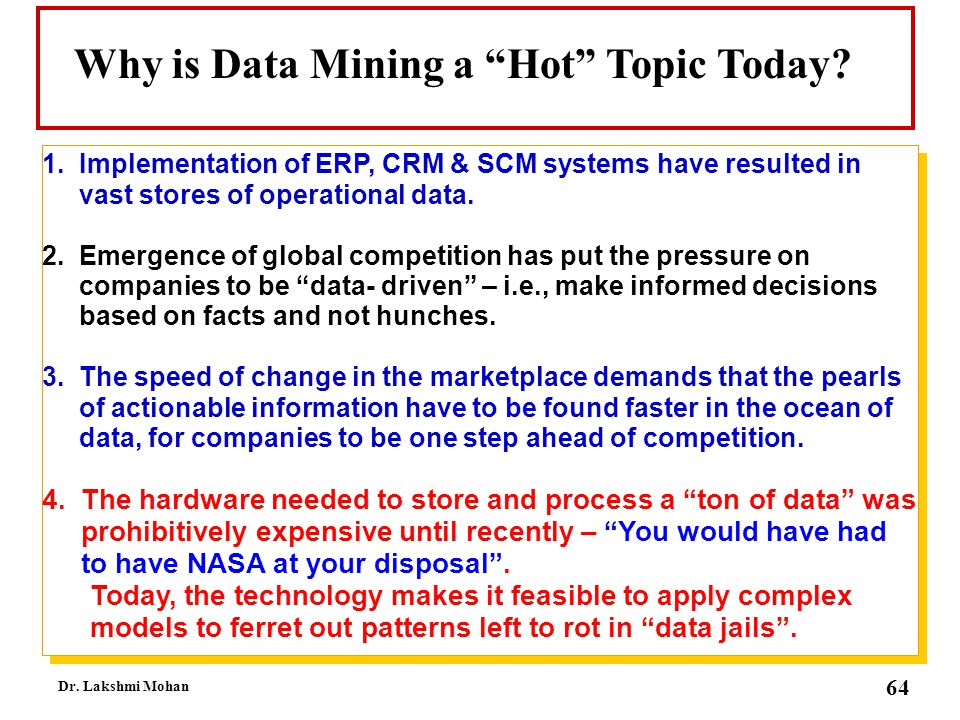Why is Data Mining a Hot Topic Today