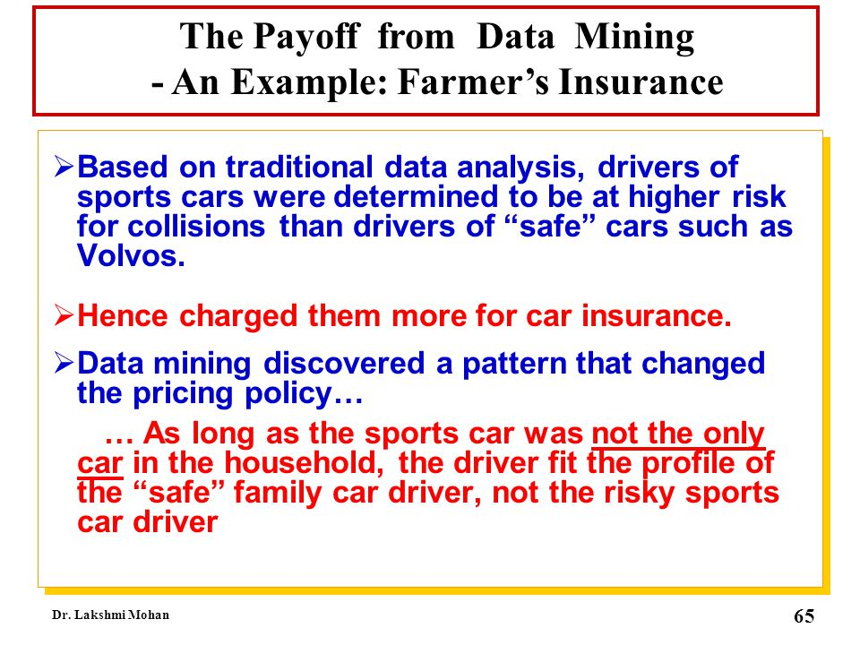 The Payoff from Data Mining - An Example: Farmer's Insurance
