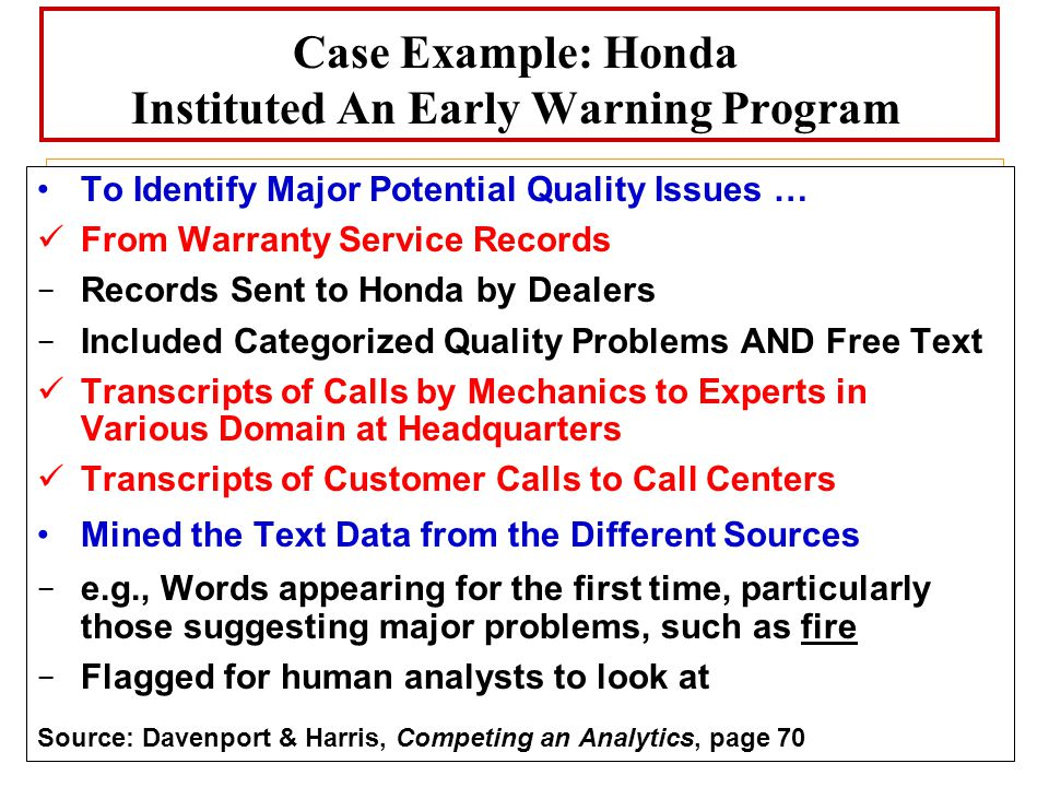 Case Example: Honda Instituted An Early Warning Program