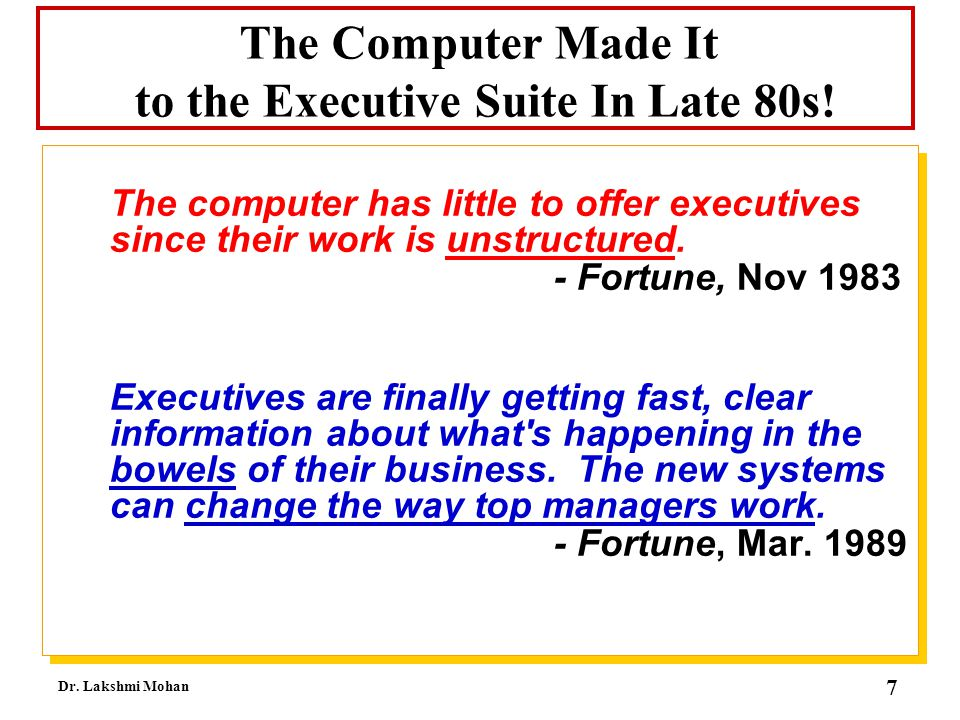 The Computer Made It to the Executive Suite In Late 80s!